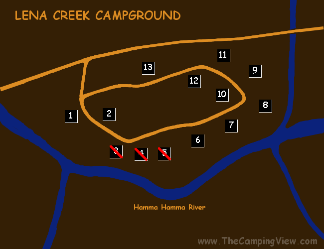 LENA CREEK CAMPGROUND ; Lena Creek ; Lena Creek Campground@47.59976812627844,-123.15150260925293